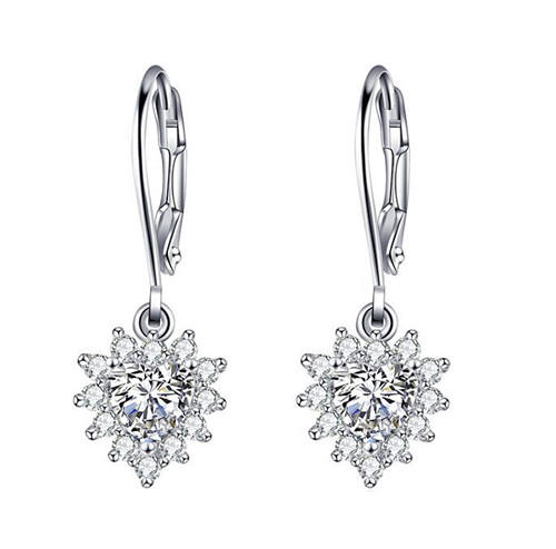 Cubic zirconia CZ diamond drop earrings sterling silver earrings dangle in platinum drusy for men and women wholesale